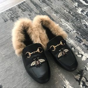Embroidered Real Fur Horsebit Mules SZ 40 - 9.5/10